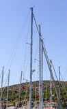 Sailboat Masts. Masts of yachts moored at Cesme private marina stock photo