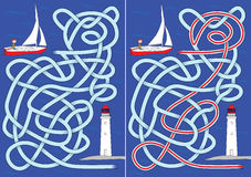 Sailboat maze Stock Photo
