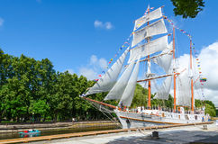 Sailboat Meridianas, Klaipeda, Lithuania stock image