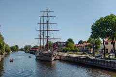 Sailboat Meridianas near the pier in Klaipeda, Lithuania stock photography