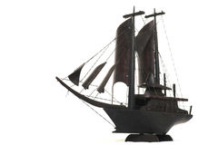 Sailboat Miniature. Wooden replica of vintage sailboat Royalty Free Stock Images