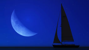 Sailboat and the moon Stock Photography