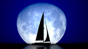 Sailboat and the moon Royalty Free Stock Image