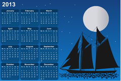 Sailboat in moonlight. Calendar for 2013 Stock Image