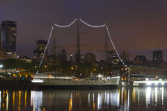 A sailboat moored in Puerto Madero, Buenos Aires, Argentina. Stock Image