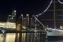 A sailboat moored in Puerto Madero, Buenos Aires, Argentina. Royalty Free Stock Image