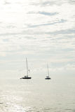 Sailboat moored in the sea Stock Image