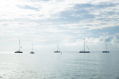Sailboat moored in the sea Stock Photo