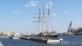 the sailboat moored to the pier of St. Petersburg royalty free stock photos