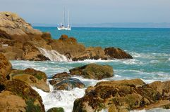 Sailboat at mooring Royalty Free Stock Photos
