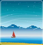 Sailboat, mountain, lake and night sky. Night landscape with sailboat, calm lake, mountains and starry sky. Summer vector illustration Stock Photography