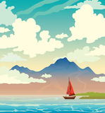 Sailboat, mountain, sea, cloudy sky. Summer landscape. Royalty Free Stock Image