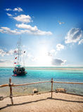 Sailboat near beach Royalty Free Stock Photo