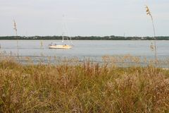 Sailboat Near Shore Stock Photography