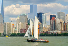 Sailboat in New York's Bay. Sailboat photographed at New York's Bay sailing to Manhattan Royalty Free Stock Images