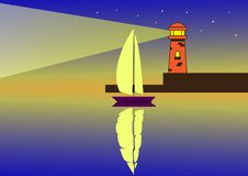 A sailboat at night in the light of a lighthouse stock illustration