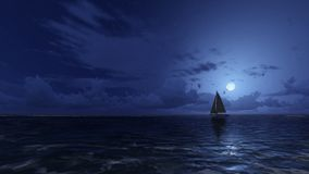 Sailboat in the night ocean Stock Images