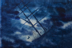Sailboat in night storm Royalty Free Stock Photography