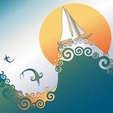 Sailboat no oceano com salto dos peixes Imagens de Stock