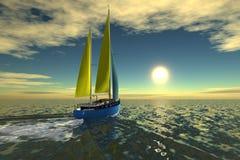 Sailboat on ocean. Sailboat sail on ocean on sunset vector illustration
