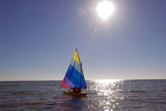 Sailboat on the ocean Royalty Free Stock Photos