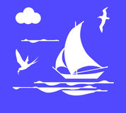 Sailboat in ocean Royalty Free Stock Photography