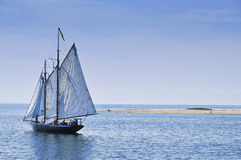 Sailboat in the ocean close to Cape Cod, Mass Royalty Free Stock Photography