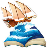 Sailboat in the ocean. Illustration Royalty Free Stock Photography