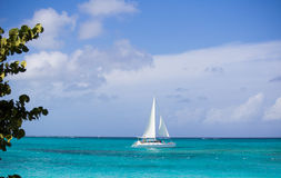 Sailboat on the ocean Stock Images