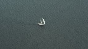 A sailboat on the ocean. In Norway stock footage