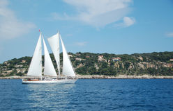Sailboat off the French Riviera coast. Under sail Stock Images