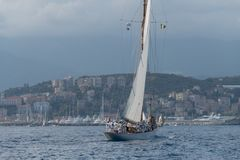 Sailboat the old style on Mediterranean sea stock photo