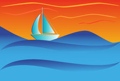 Sailboat on open ocean Stock Images