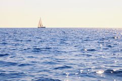 Sailboat at open sea Royalty Free Stock Images