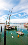 Sailboat at Ouchy port, Lausanne, Switzerland Stock Photo