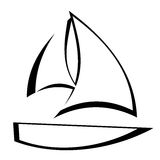 Sailboat Outline. Stylized black outline of a sailboat icon on white background vector illustration