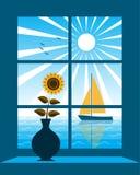 Sailboat outside window Royalty Free Stock Photo