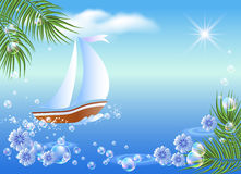 Sailboat, palm, clouds and sun. Stock Photo