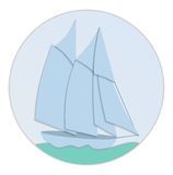 Sailboat paper flat design Royalty Free Stock Images