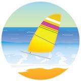 Sailboat on the paradise beach  Royalty Free Stock Photos