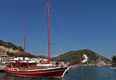 Sailboat at Parga bay in Greece Stock Images