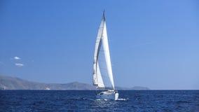 Sailboat participate in sailing regatta. Sailing. Royalty Free Stock Image