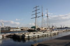 sailboat at the pier of the port of Petersburg stock image