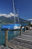 Sailboat pier, Thunersee, Spiez, Switzerland Royalty Free Stock Photo