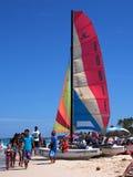 Sailboat At Playa Del Este Cuba Stock Images