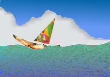 Sailboat. Polygonal boat on the sea Stock Photos