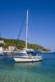 Sailboat in the port of Ithaca, Greece Stock Photo