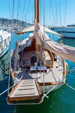 Sailboat in the port of Monaco. Anchoring sailboat in the port of Monaco, Monaco Stock Images