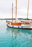 Sailboat at Porto Heli sea Argolis Greece. Greek summer destination Royalty Free Stock Photo