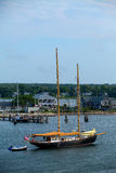 Sailboat prepares to dock in Martha's Vineyard. Royalty Free Stock Photo